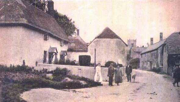 Residents in High Street at Sixpennny Handley, probably taken before 1892