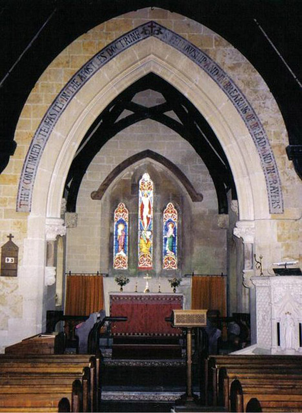 Interior of The Church of St. Mary Magdalene at North Poorton. See our story in the North Poorton Category. Photo by Chris Downer, for about the photographer click on the image.