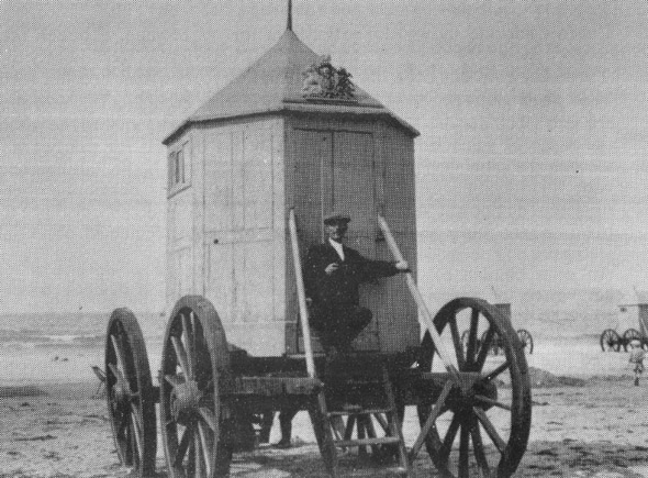 A Royal Bathing Machine photographed on Weymouth sands. For more about this see our story The Royal Bathing Machines in the Weymouth category.